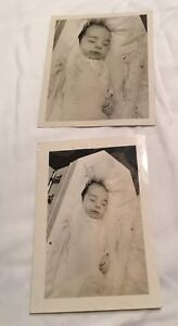2 Post Mortem Child Young In Casket  Vintage Black And White Photos