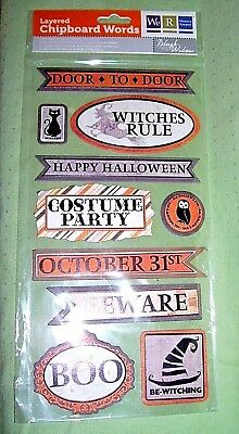 We R Memory Keepers  Halloween  layered chipboard words  for scrap booking  (Word For Halloween)