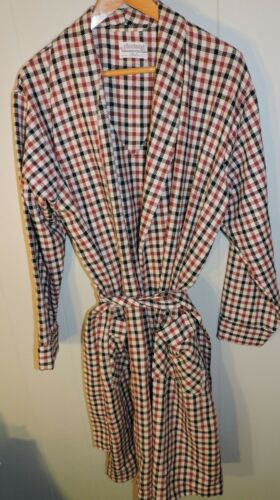 Vintage Pleetway Wool Blend Robe Large Red White Black