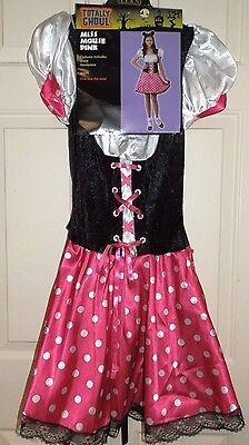 New Juniors OSFM Miss Mouse Pink Costume Dress Ears Polka Dots minnie teen (Miss Minnie Kostüme)