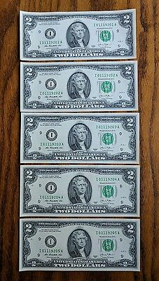 Five Consecutive Uncirulated  2 Dollar Bills  Minneapolis I Series 2013