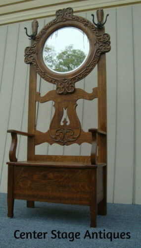 61216   Antique Vicxtorian Oak Hall Seat Hat Rack with Beveled Mirror