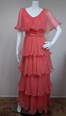 Vtg Miss Elliette Sz 10 Pink Tiered Party Prom Maxi Dress Pleated Accordion