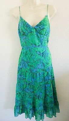 Muse  Blue   Green Floral Spaghetti Strap Tiered Dress Size 6 Summer Vacation
