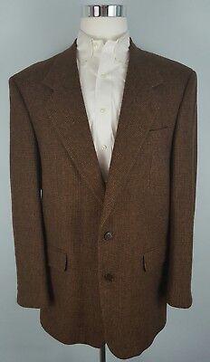The World Best Men's Tweed 100%Pure Wool Brown Two Button Blazer Jacket Size (Best Blazers For Men)