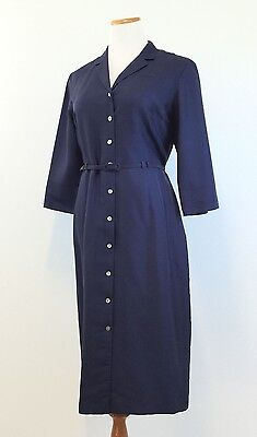 Classic TAO Navy SILK Belted V Neck Shirtdress 3/4 Sleeve Women