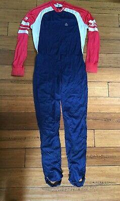 89a3eab27169 Vintage Loffler Austria Ski Race Suit XC One Piece Monosuit Men's Small Blue  Red