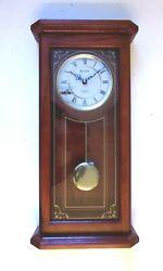 BULOVA CIRRUS WALL QUARTZ CLOCK WESTMINSTER IN SOLID OAK WITH PENDULUM