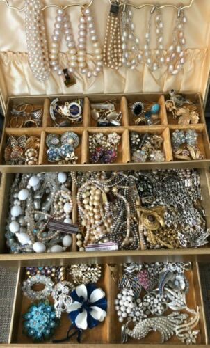 Vintage Mixed Jewelry lot beaded, rhinestone, enamel