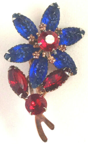 Vintage molded textured Glass Flower Pin Brooch Beautiful Reds & Blues Handset