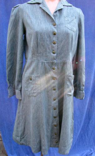 Vintage 40s Girl Scout Uniform Dress Long Sleeve Cotton GSA L