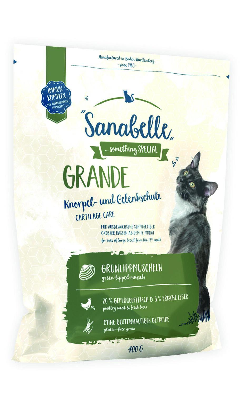 Sanabelle Grande 400g Trockenfutter für große Katzen glutenfrei mit Gelenkschutz