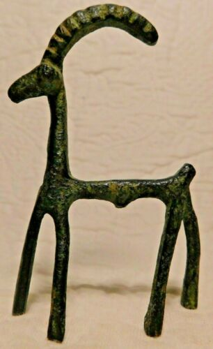 "Vintage Cast Iron 3"" TRIBAL IBEX Figurine horned ram goat"