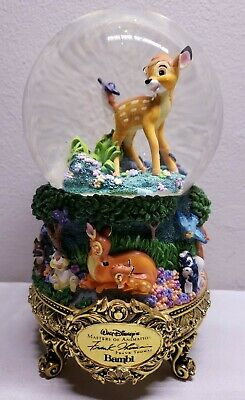 "VINTAGE RARE WALT DISNEY MASTER OF ANIMATION ""BAMBI"" MUSICAL SNOW GLOBE"