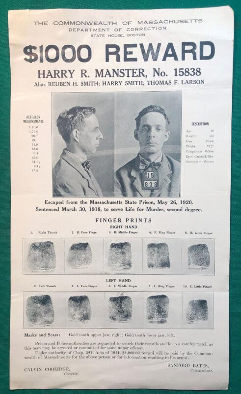 ORIGINAL ESCAPED PRISONER MURDERER WANTED POSTER BOSTON MASS. 1920 $1000 REWARD
