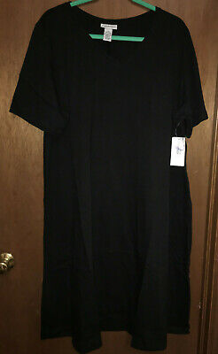 NWT, Ultra Flattering & Comfy Catherine's A-Line, V-Neck Knit Black Dress 2X Flattering A-line Dress