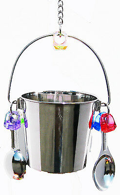 1054 Big Fun Bucket Bird Toy parrot cage stainless steel toys cages african grey