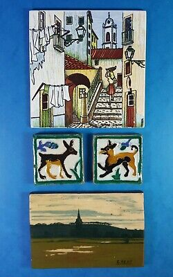 FOUR ART POTTERY CERAMIC TILES - PORTUGAL SPAIN ENGLAND - STREET SCENE - ANIMALS