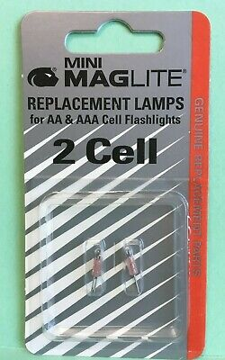 Maglite Replacement Lamps for 2-Cell AA Mini Flashlight 2-Pack New Free Shipping