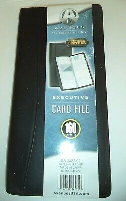 Executive 160 Capacity Leather Business Card File Black