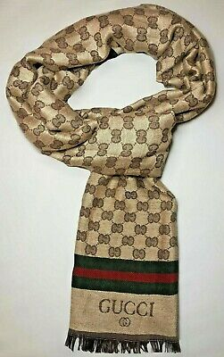 NEW GUCCI GG Jacquard Pattern Knitted Wool Scarf - Brown & Beige