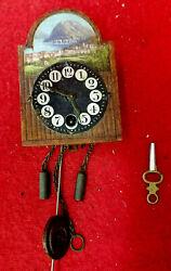 Mini Free Swinger German Wag Wall Clock--Black Forest Arch Dial--Key Wind