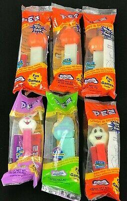Halloween Ghost Eggs (SET OF 6 Holiday Pez Dispensers 4 Halloween Pumpkin Ghost 2 Easter Bunny Egg)