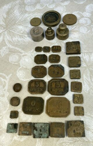 Antique Sheet Brass & Other Weights 1 DWTS to 1 Ounce