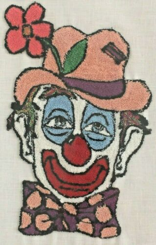 Punch needle embroidery hobo clown circus child gift home decor 12x15 art