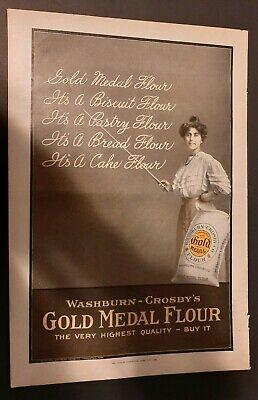 """VINTAGE GOLD MEDAL FLOUR ORIGINAL PRINT AD 1907 - APPRX. 11""""X14"""""""