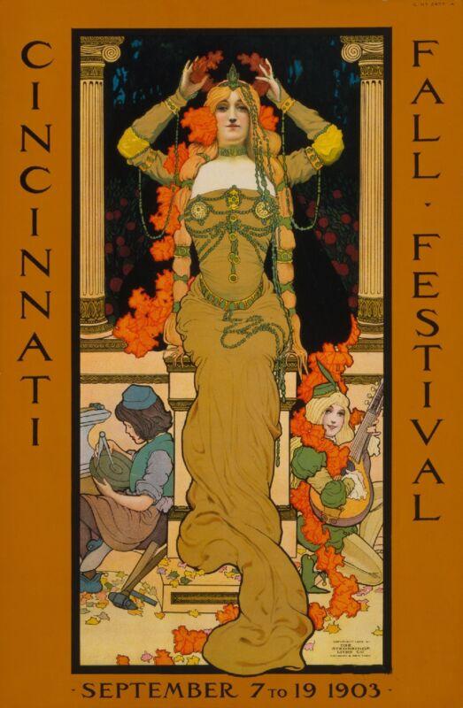 1903 Cincinnati Fall Festival American Nouveau Travel Advertisement Art Poster