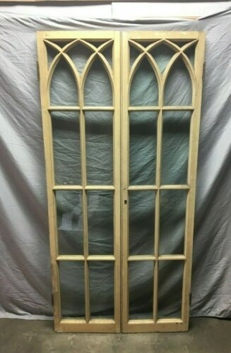 Pair Antique Gothic French Door Window  Shabby Cabinet Chic 17X70 Vtg 138-19J