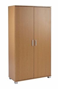 Office furniture storage cupboard 4 shelves beech two door cabinet 800mm wide