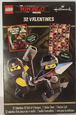 32 Ninja Lego Movie Valentines 32 Stickers & Teacher Card Hallmark 4 Designs