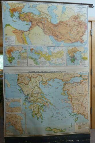 Rare VINTAGE MAP ANCIENT GREECE & the AEGEAN School Wall Map Retractable