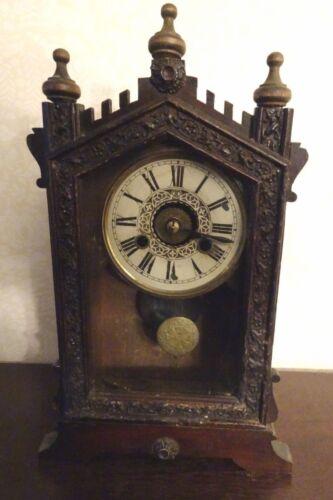 Antique German Thomas Ernst Haller Alarm Clock gothic Black Forest- should work
