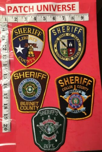 LOT OF 5  DIFFERENT TEXAS POLICE SHOULDER PATCHES  K075