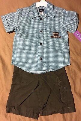 NWT Carter's Toddler Boys 4T Short Sleeve Dress Shirt Blue & Green Shorts Set