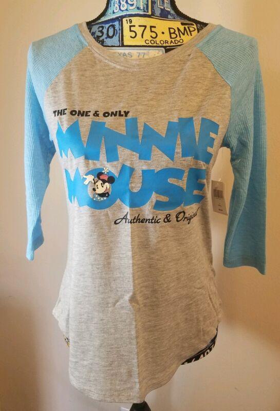Disney Parks Women 3/4 Ragland Sleeve Minnie T-Shirt Light Blue-Gray NWT SMALL