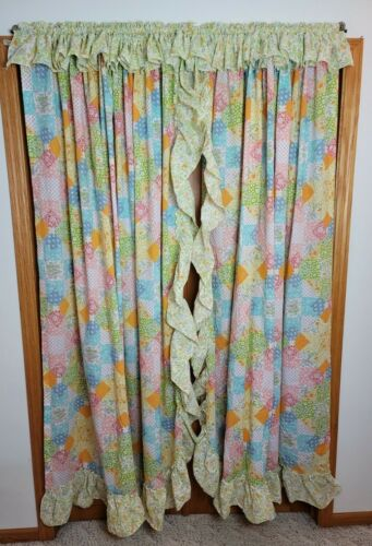 2 Vintage Sears Patchwork Ruffle Curtain Panels 70x80 Cottage Farmhouse Prairie