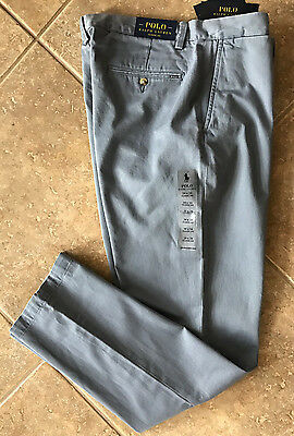 Polo Ralph Lauren Flat Front Chino Pants Mens 34 x 32 Blueberry Classic NWT