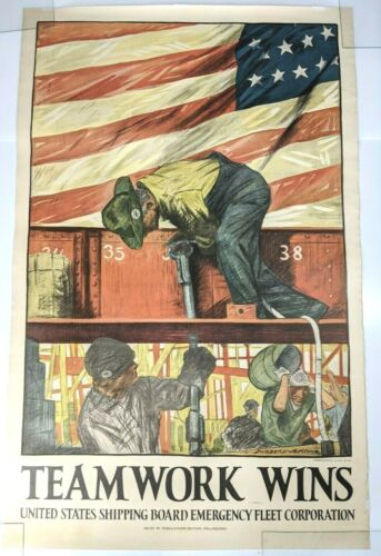 Large WWI War Propaganda Poster Teamwork Wins Hibberd V. B. Kline c.1918