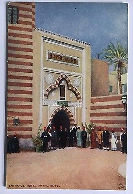 "Tuck's Oilette Picturesque Egypt Postcard Div Back ""Entrance Hotel Du Nil Cairo"""