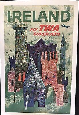 FLY TWA BY DAVID KLEIN ORIGINAL VINTAGE TRAVEL POSTER IRELAND 1960