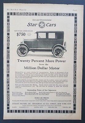 1925 Star Cars Sedan Photo Vintage Print Ad Million Dollar Motor