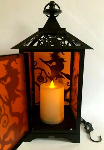 """Costco Large Halloween Lantern Flickering LED Candle Auto Timer 14.5"""" Tall"""