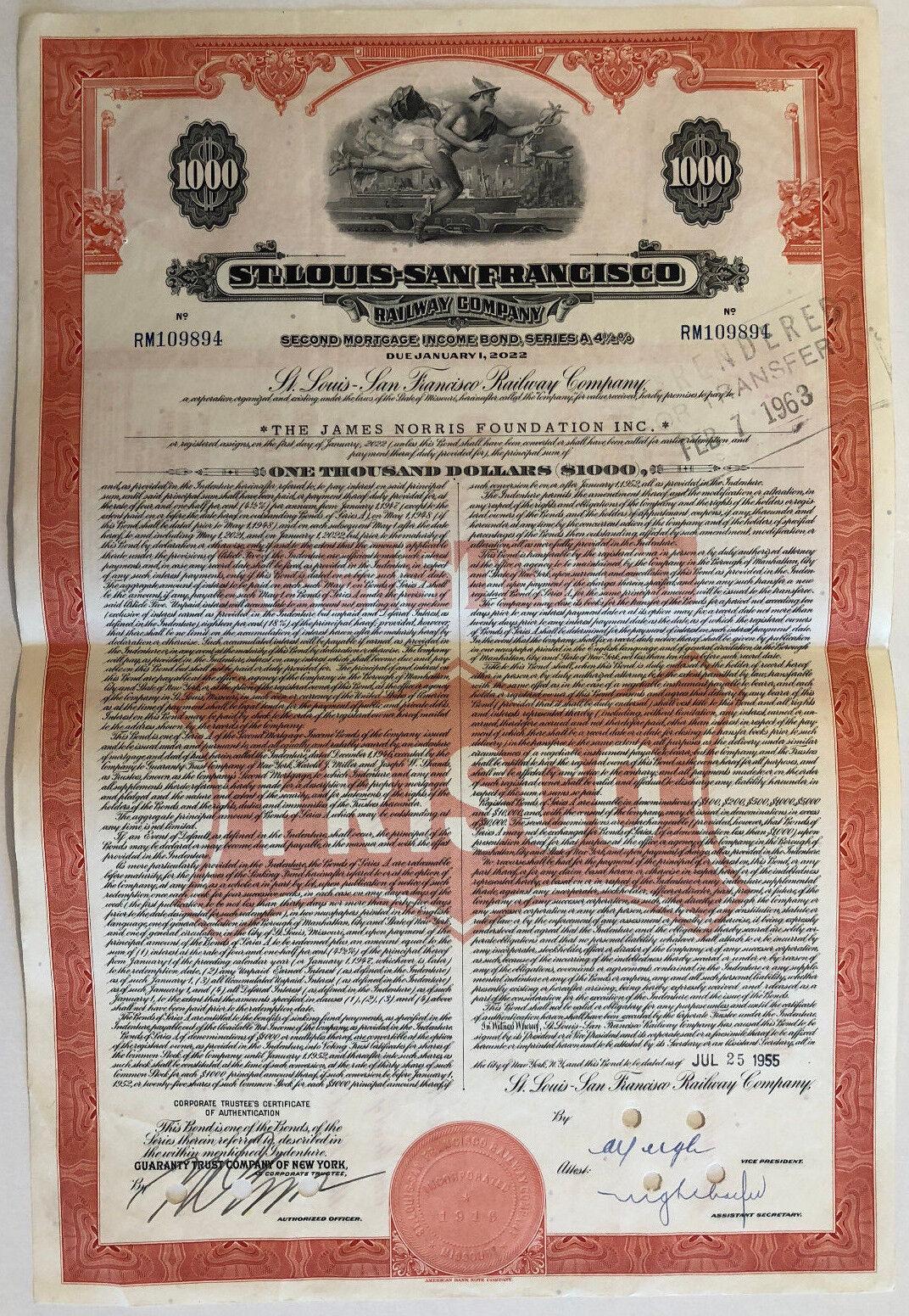 St Louis - San Francisco Railway Company > 1950s FRISCO bond certificate