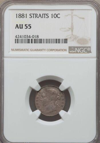 1881 Straits Settlements 10 Cents, NGC AU 55, Malaysia