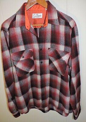 1970s Mens Shirt Styles – Vintage 70s Shirts for Guys Vintage 1970's Sears Mens Wool Blend Flannel Shirt Large Red Plaid $19.90 AT vintagedancer.com
