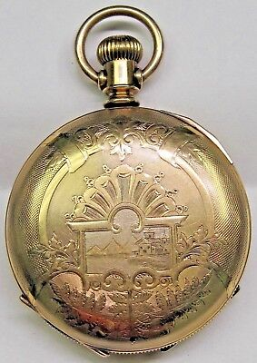 Antique Waltham Beautiful Engraved Covered Yellow Gold Filled Pocket Watch -